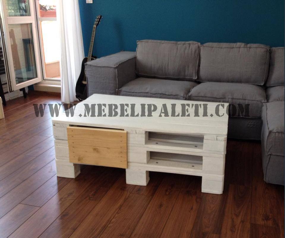 Бяла маса от палети с две чекмеджета