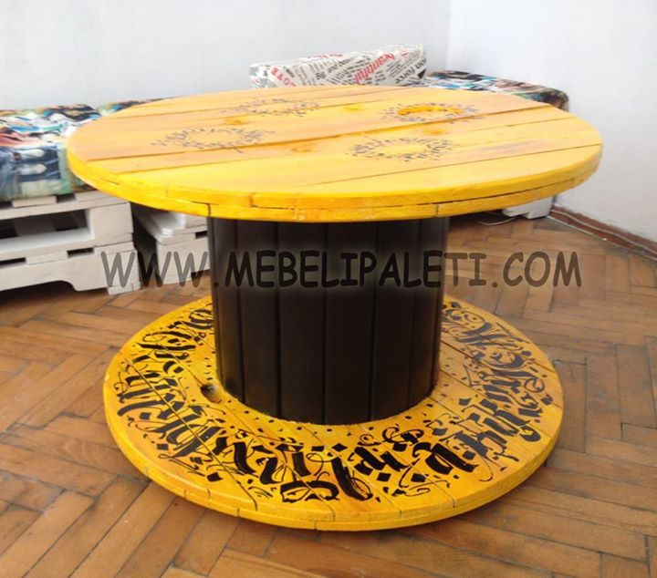 Дизайнерска маса от кръгла макара