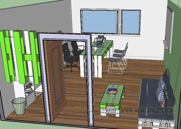 3д проект на офис от палети