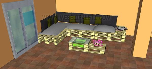 маса и диван от палети за кабинет в 3Д