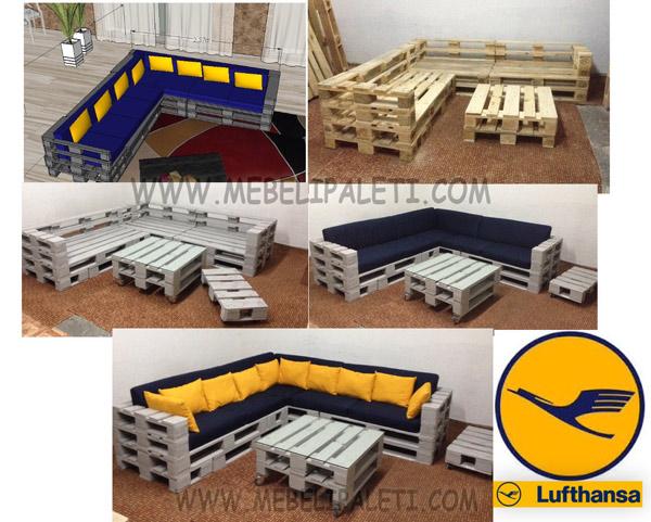 диван и маса от палети за луфтханза с фирмените цветове